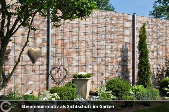 M-tec Steinmauermotiv als Sichtschutz im Garten