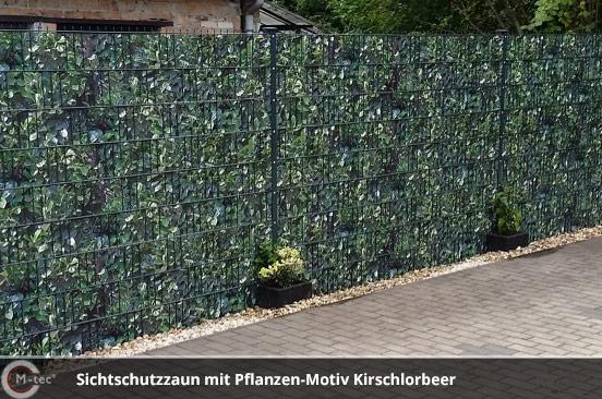 M-tec Sichtschutzzaun mit Kirschlorbeer-Motiv